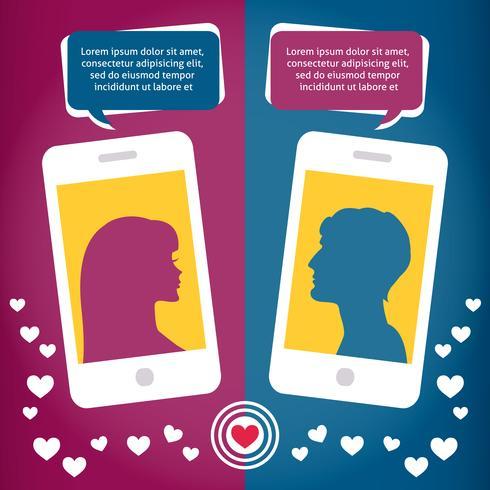 Virtuelle Liebe der Paare, die unter Verwendung des Handys spricht vektor
