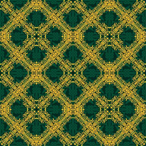 Seamless gult och grönt mönster i arabisk eller muslimstil vektor
