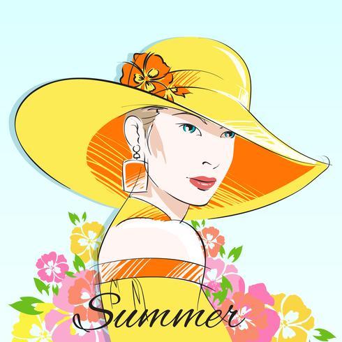 Sommermodemädchen im gelben Hut vektor