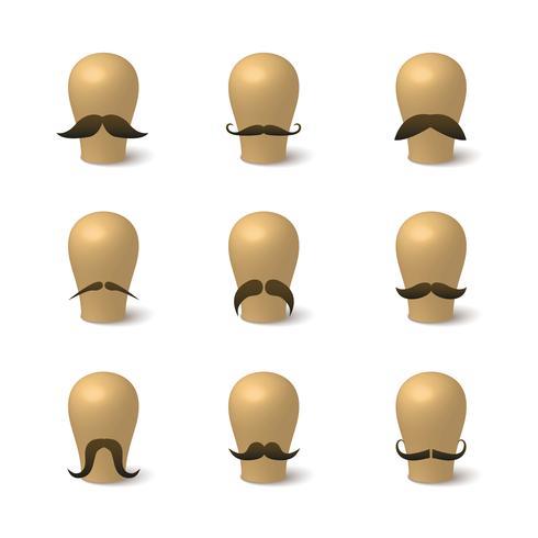 Insamling av hipster mustascher på hatt-block vektor