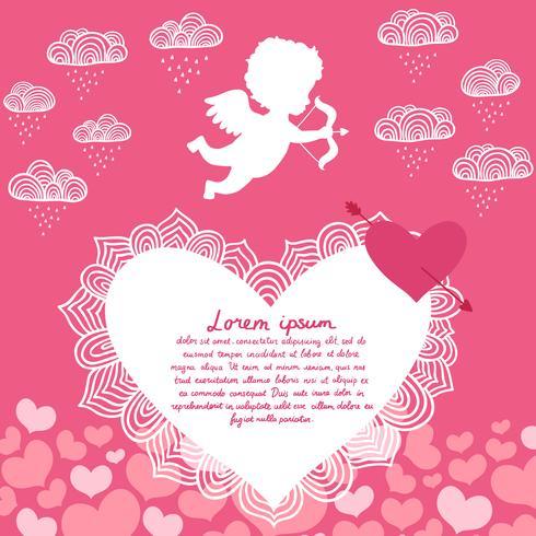 Valentinstag Engel mit Bogen Flyer vektor