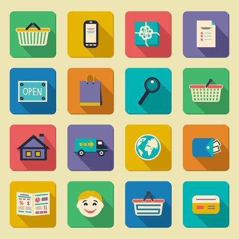 Online-Shopping-Symbole festgelegt vektor