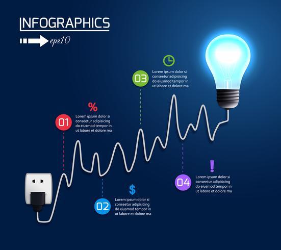 Wachsendes Diagrammdiagramm der kreativen Glühlampe vektor