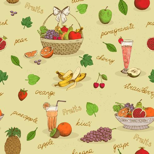 Frukt sömlösa mönster med namn vektor