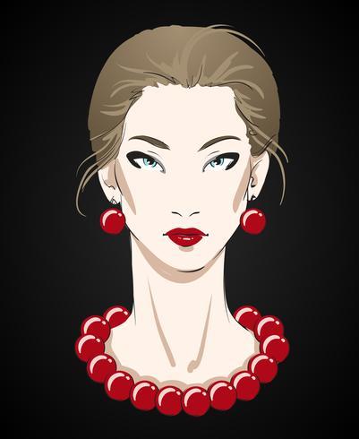 Schönes Porträt der jungen Frau mit roter Halskette vektor