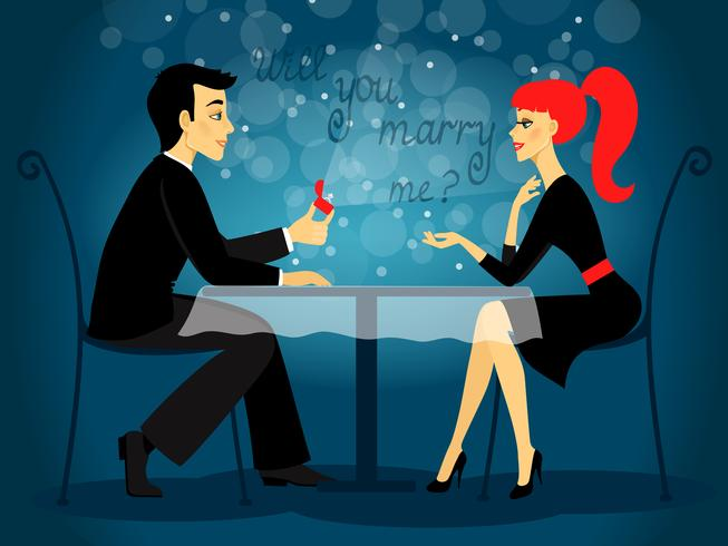 Kommer du att gifta dig med mig, äktenskapsförslag vektor
