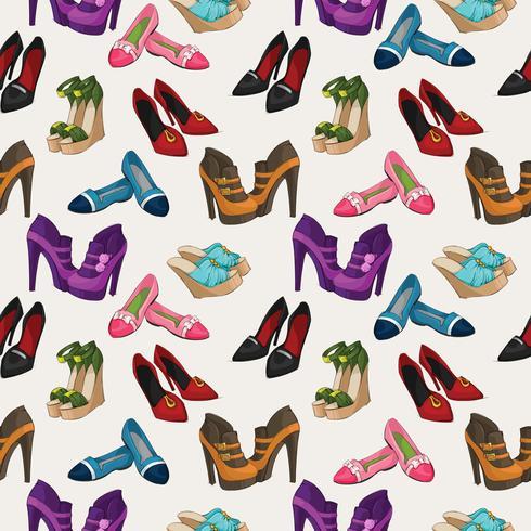 Sömlös kvinna mode skor mönster vektor