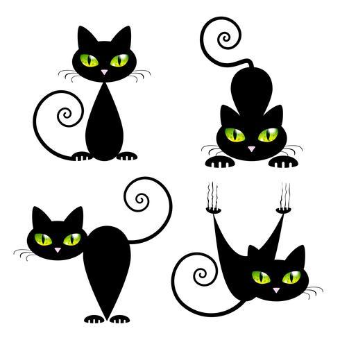 Schwarze Katze mit grünen Augen vektor