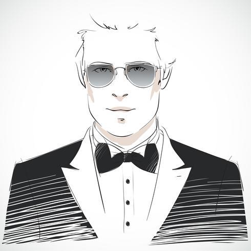 Elegant ung affärsman porträtt vektor