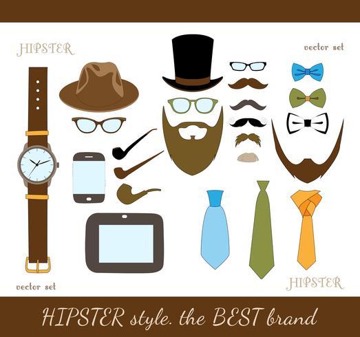 hipster tillbehör ikoner uppsättning vektor