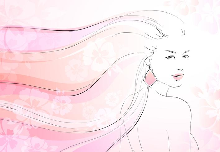 Mjukt blommar bakgrund med ung tjej vektor