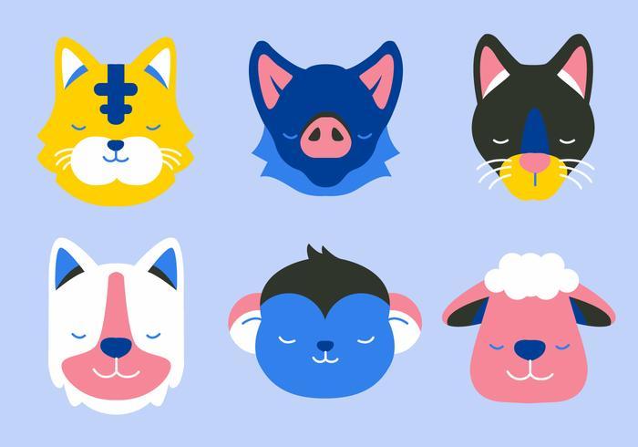 djur ansikte set vektor platt illustration
