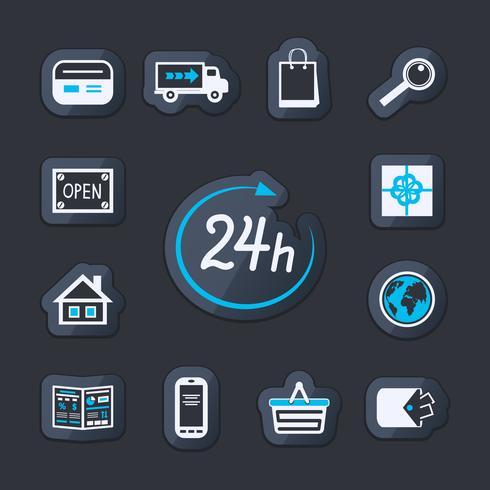 Internet-Website-Shop 24 Stunden geöffnet vektor