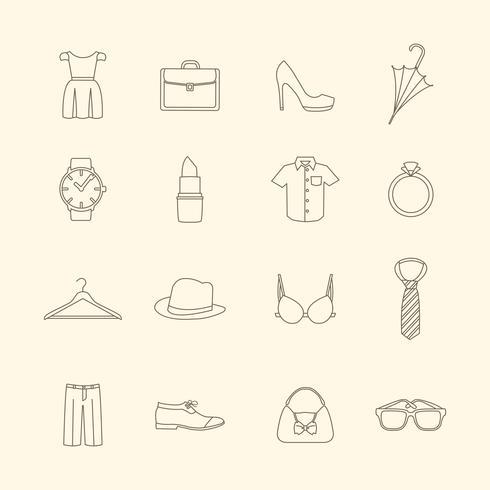 Mode och kläder tillbehör ikoner vektor