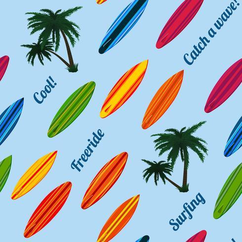 Sömlöst semestermönster med surfbrädor vektor