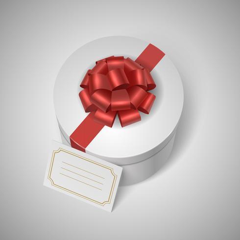 Klassische Geschenkbox mit rotem Band, Bogen und leerem Etikett vektor