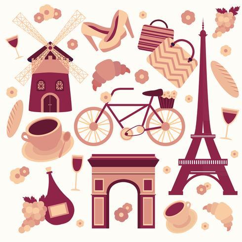 Paris symboler samling vektor