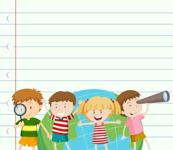 Pappersmall med barn och jord vektor