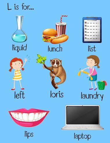 Många ord börjar med bokstaven L vektor
