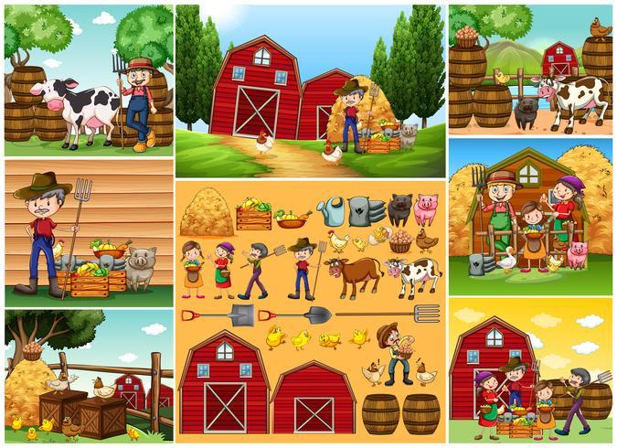 Landwirte und Tiere auf dem Bauernhof vektor