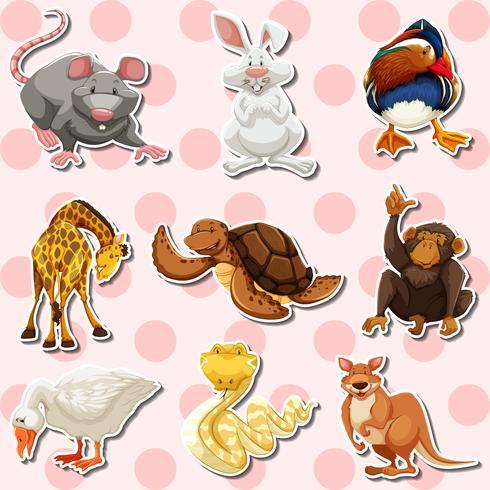 Klistermärke med olika slags djur vektor