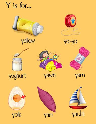 Många ord börjar med bokstaven Y vektor