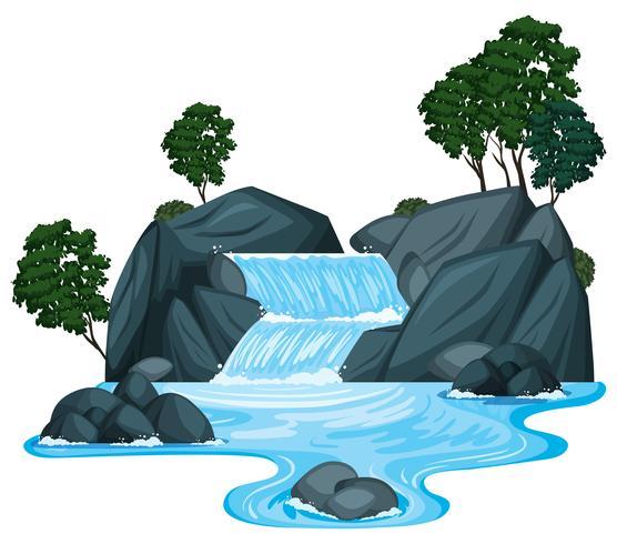 Scen med vattenfall och flod rinner ner vektor