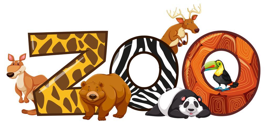 Font design för ord zoo vektor