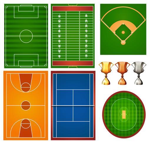 Olika sportbanor och trofé vektor