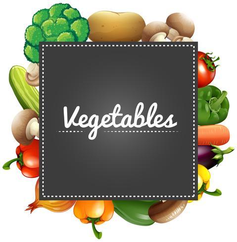Blandade grönsaker runt gränsen vektor