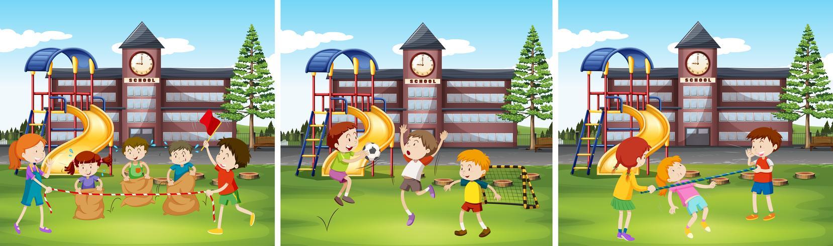 Barn som leker på skolgården vektor