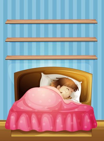 Liten tjej som sover i sängen vektor