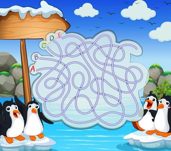 Spielvorlage mit Penquins auf Eisberg vektor