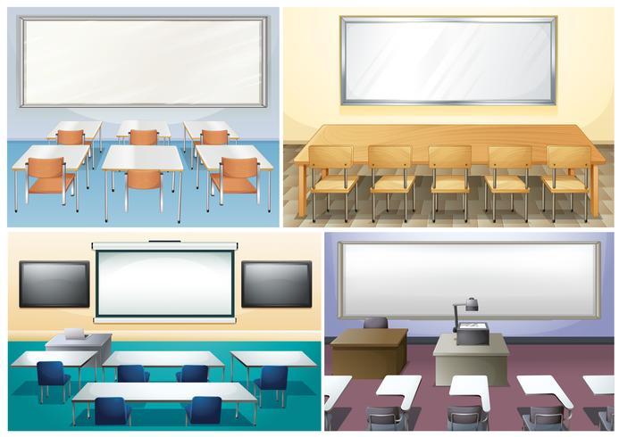 Fyra scener i klassrummet vektor