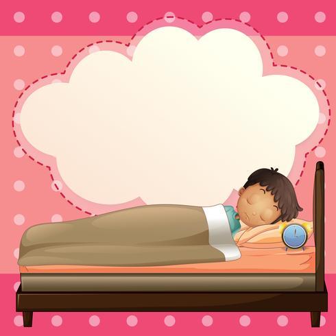 Ein Junge, der mit einer leeren Hinweisschablone schläft vektor