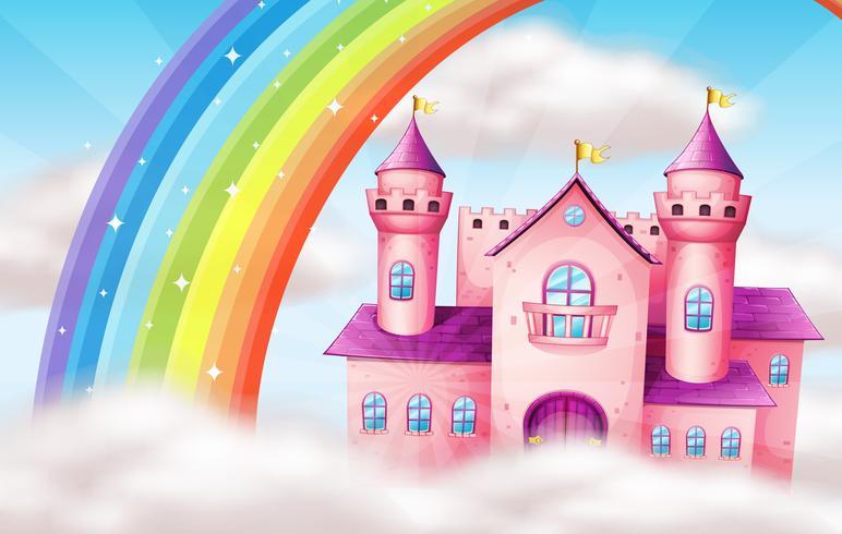 Ein schönes Pastellschloss und ein Regenbogen vektor