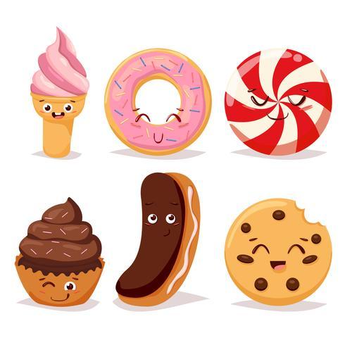 Süßigkeiten Dessert Süßigkeiten und Doodle-Symbol vektor