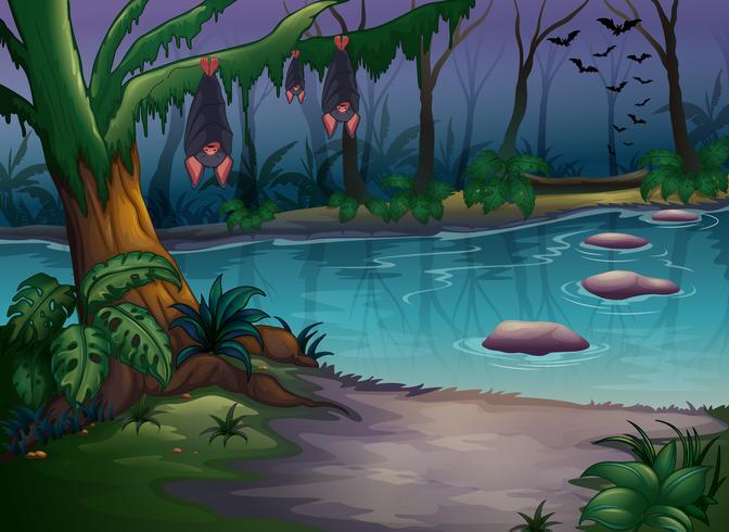 Mystiska skogar och en flod vektor