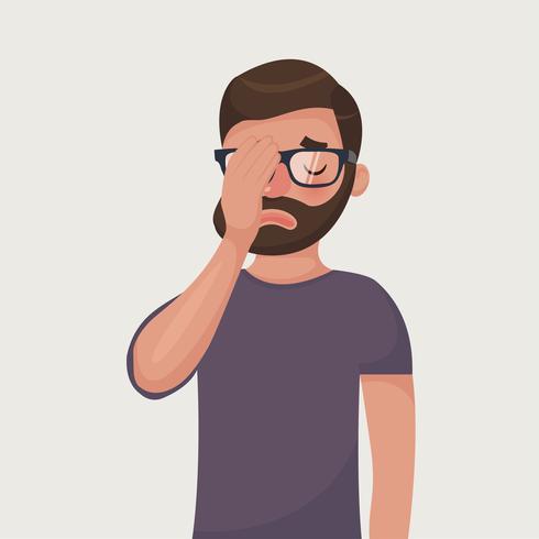Man Kopfschmerzen, Enttäuschung oder Schande vektor