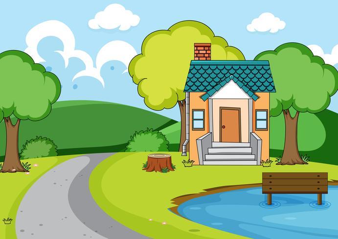 Eine ländliche Hauslandschaft vektor