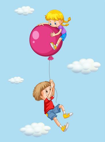 Pojke och tjej med rosa ballong vektor