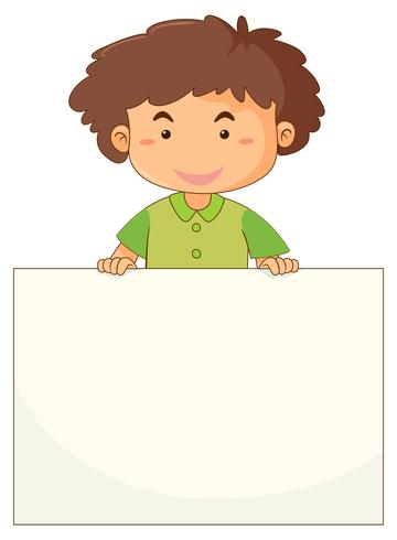 Liten pojke med tomt papper vektor