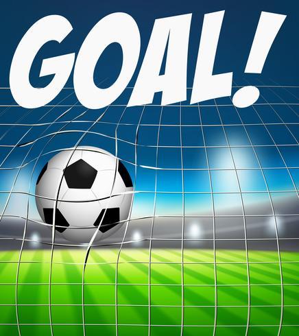 Mål med fotboll i nätkoncept vektor