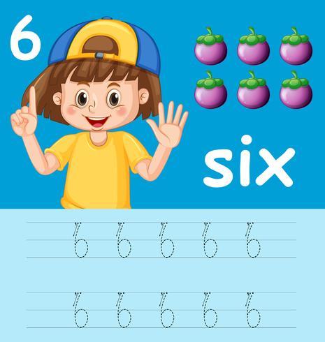 Nummer sechs Arbeitsblätter für Ablaufverfolgung vektor