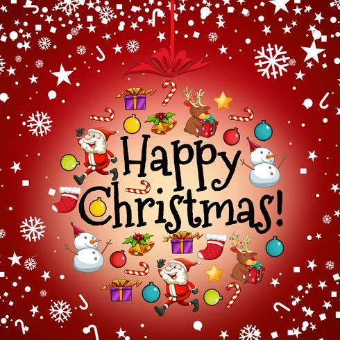 Julkortsmall med Santa och andra ornament vektor