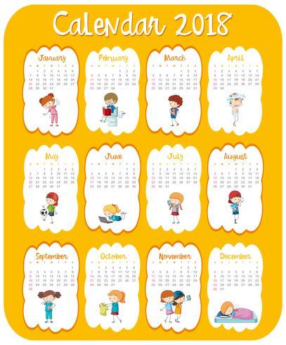 Kalendermall för 2018 med barn vektor