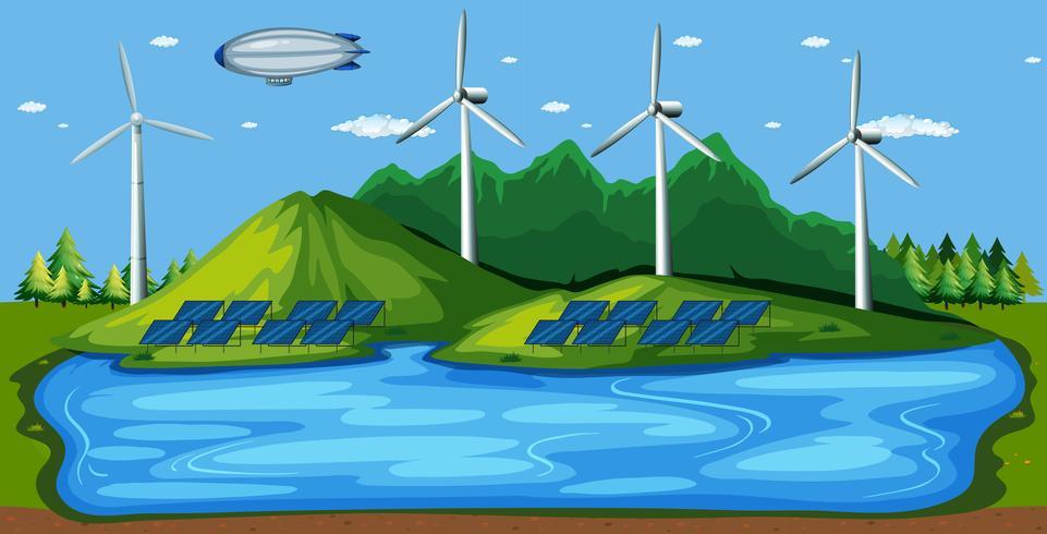 Vindkraftverk i naturen vektor