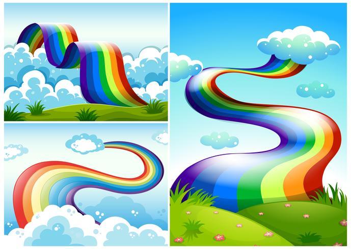 En uppsättning av regnbåge vägen vektor