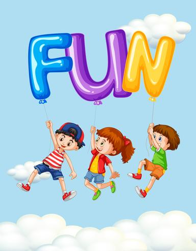Tre barn och ballonger för ordet kul vektor