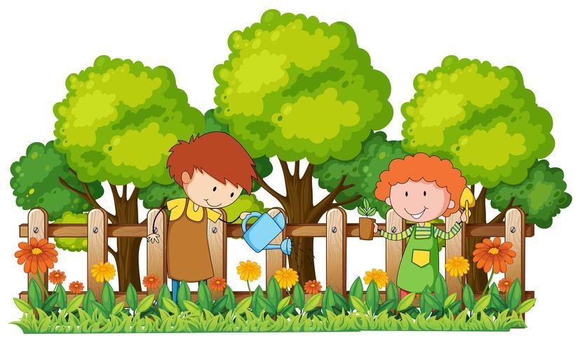 Glada barn vattnar växter i trädgården vektor